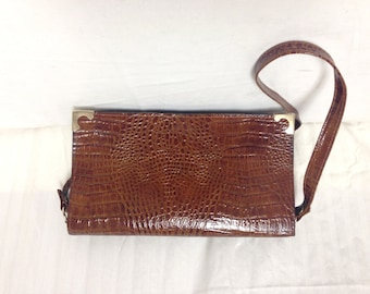 Faux leather purse ,bag,Croc Embossed ,Faux leather,Brown, Shoulder Bag