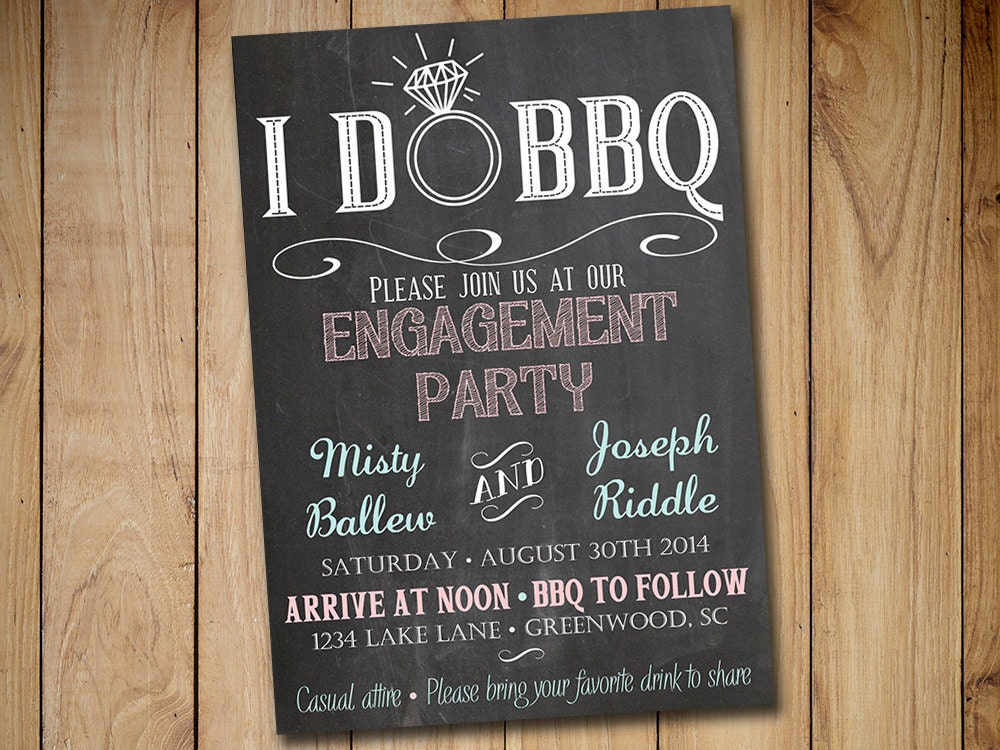 i do bbq engagement party invitation template chalkboard. Black Bedroom Furniture Sets. Home Design Ideas