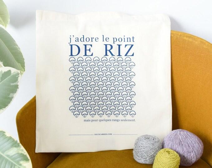 """Screen printed Tote Bag -  ( sac sérigraphié """"point de riz"""" )"""