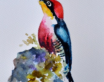 ORIGINAL Watercolor Bird Painting 6x8 inch, Colorful Woodpecker