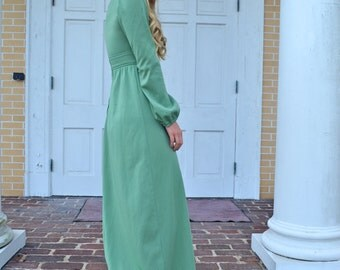 70s Long Sleeve Maxi Dress