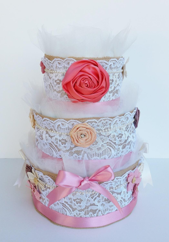 Vintage Baby Shower Decoration Burlap Diaper Cake Etsy