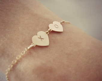 Gold-Filled Hand Stamped Bracelet - Handmade Jewelry - XO Bracelet - Minimalist Jewelry - Gold Heart Bracelet - Hand Stamped Bracelet