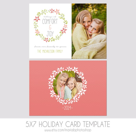 5x7 christmas card template front and back modern. Black Bedroom Furniture Sets. Home Design Ideas