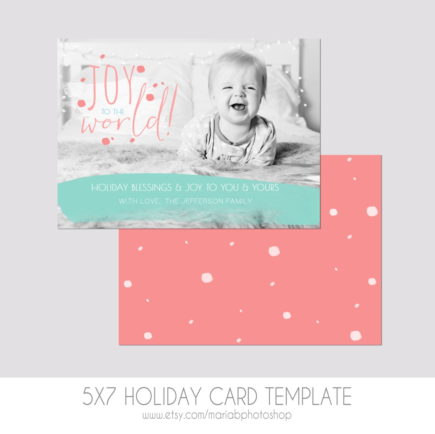 5x7 Christmas Card Template Front and Back Modern