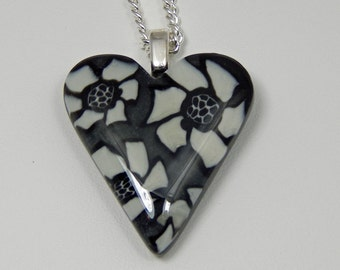 Polymer Clay Heart Necklace. Black and White Floral Heart. Heart Pendant. Black and White Floral