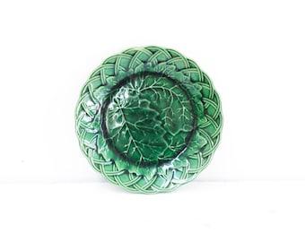 Green Majolica Leaf Plate