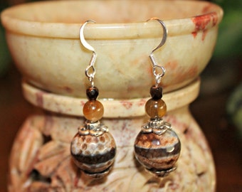 Honeycomb Agate Dangle Earrings
