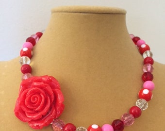 Roses are Red Children's Necklace, Red Children's Necklace, Acrylic Bead Necklace, Acrylic Children's Necklace, Rose Children's Necklace