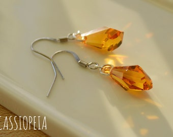 Swarovski Crystal Orange Earrings, Swarovski Topaz Earrings, Topaz Crystal Earrings, Orange Dangle Earrings, Orange Crystal Earrings,