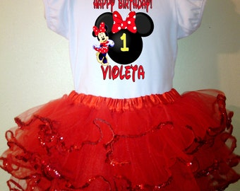 Minnie Mouse Dress red 2pc1T,2T,3T,4T,5T,6T,7T,8T birthday Outfit