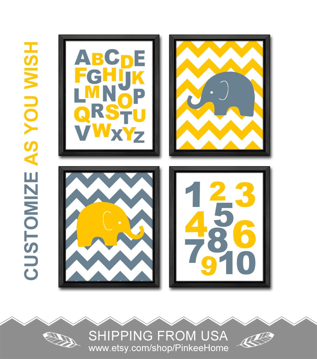 elephant baby room decor, alphabet nursery, safari baby boys room ...