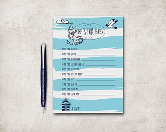 Wishes for baby Printable, Boy Baby Shower Games, Blue Nautical Wishes for Baby Boy, Printable Wishes For Baby, Digital File
