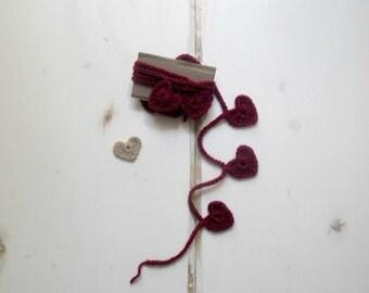 Decorative hearts garland, valentine's day home decor, cherry red hearts