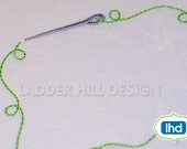 Quilt Label - Needle and Thread Quilt Border - Heirloom Machine Embroidery Design QLRE015