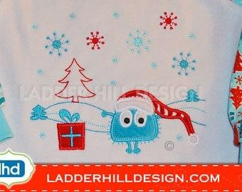 Christmas Embroidery Applique -- Ooga Booga Christmas Scene Embroidery 2014