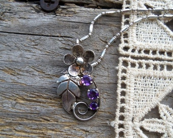 Reduced--- Sterling Silver and Amethyst Flower Pendant and Chain