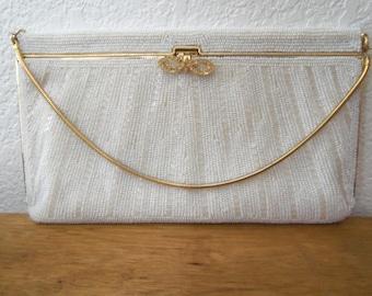 For the Bride--Shimmering White Vintage Beaded La Regale Handbag--Clutch