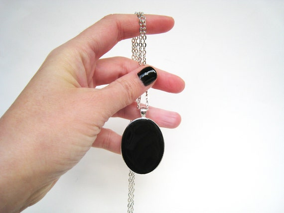 Onyx Black pendant necklace, modern minimalist, black resin necklace, black glass necklace, goth rock oval medallion, contemporary jewelry