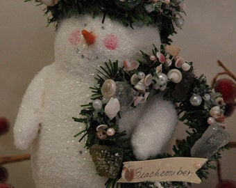 Folk Art Snowman with Sea Shells (X-SM-BC)