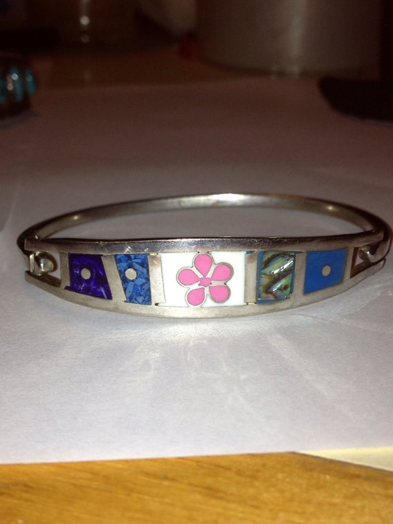 Taxco Turquoise Lapis Sterling Bracelet Bangle Inlay