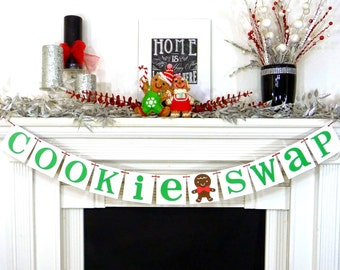 Christmas Banner - Cookie Swap Party - Cookie Exchange - Merry Christmas Banner - Gingerbread Man Party - Christmas Decor - Xmas Party Decor