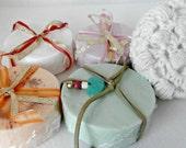 Re-usable Soap Saver Scrubby with handmade soap, Handmade Crochet 100% Cotton