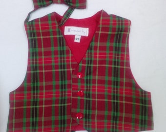 Boy's Christmas Vest and Bowtie - Size 2T  3T  4T