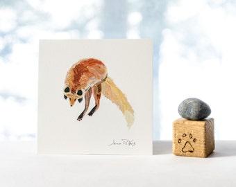 Jumping red fox illustration, fox nursery wall art, reproduction of original digital drawing, 5x5 square print, fox drawing, fox artwork