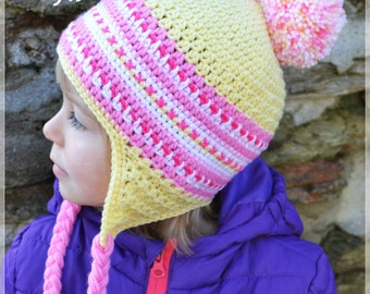 Handmade Crochet hat for girls, Hat with a Pom Pom, Yellow and pink hat