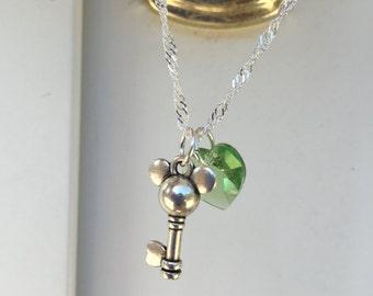 Mouse Key with Peridot Swarovski Crystal Heart