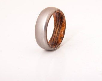 mens wedding ring titanium ring with wood bocote ring wedding band