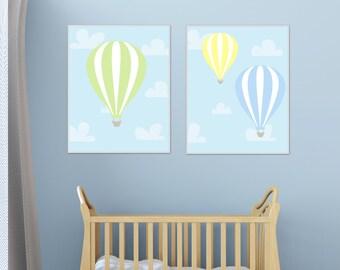 Baby Boy Nursery Art Print, Hot Air Balloons Nursery Wall Art Suits Blue, Yellow and Green Nursery Print-Custom Colour- Unframed N1221,N1222