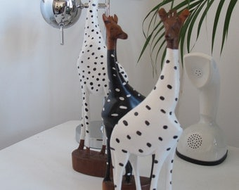 FREE SHIPPING ** Gemma the Giraffe in her winter onesie. Painted carved wooden animal figure