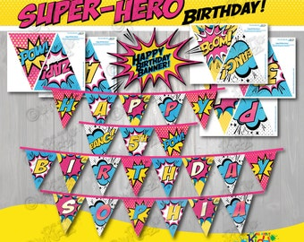 Girl SUPERHERO Party Banners! Printable Party Banner ,Superhero Birthday Banner,Superhero Party Printable,Super Hero Birthday-ItAllAboutKidz