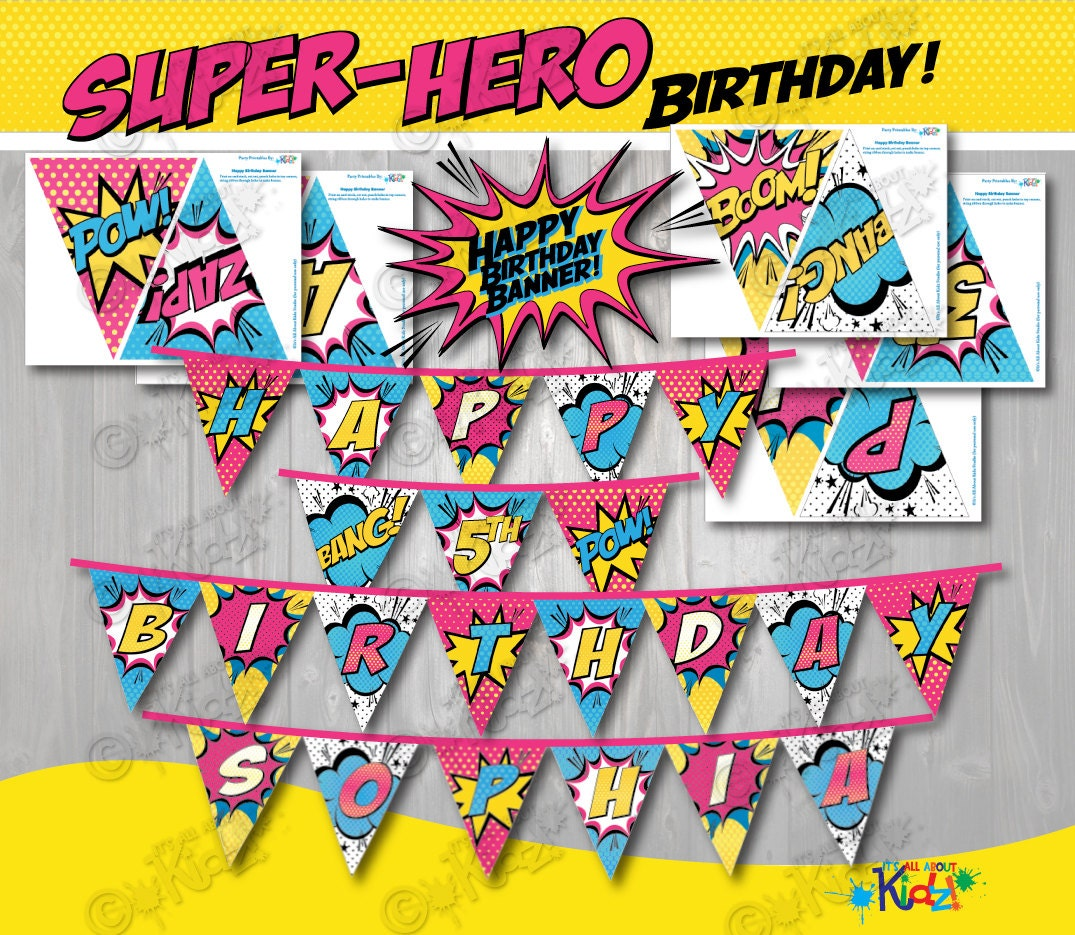 Girl SUPERHERO Party Banners Printable Party Banner