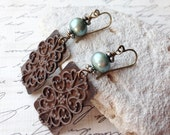 Fresh Water Pearl, and Antique Brass Patina Filigree Dangle Earrings, Brown and Teal/Green, Handmade, Fashion Jewelry