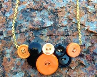 Halloween/ Orange and Black Vintage Button Necklace