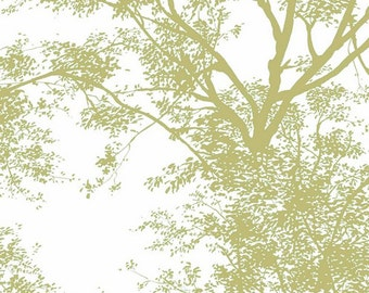 Green Tree Silhouettes on Crisp White - Wall Mural, Leaves, Botanical, Organic, Nature - Wallpaper By The Yard - AP7504 so