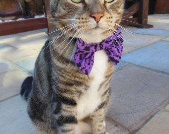 Halloween Purple Bats - Bow Tie Cat Collar with Bat Charm