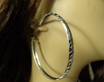 LARGE Hoop Earrings Silver Tone Hoop earrings Textured shiny Hoops Lightweight
