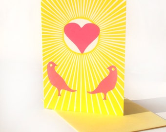 Love Birds - letterpress greeting card - Set of Five (5)
