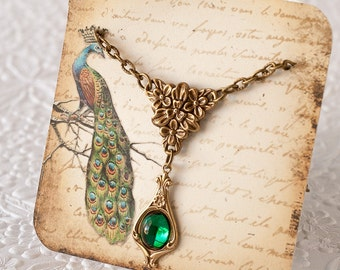 Emerald Necklace Emerald Green Necklace Art Nouveau Necklace Downton Abbey Necklace Great Gatsby Necklace May Birthstone Gift For Her