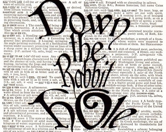 Vintage Wall Art Print - Printed on Dictionary Paper 1950s . Down the Rabbit Hole