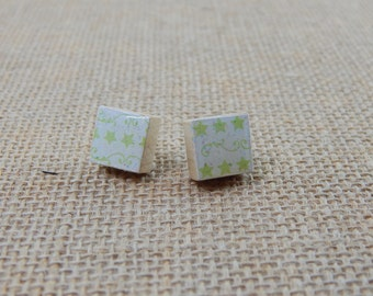 Petite Green Star Swirl Scrabble Tile Post Earrings