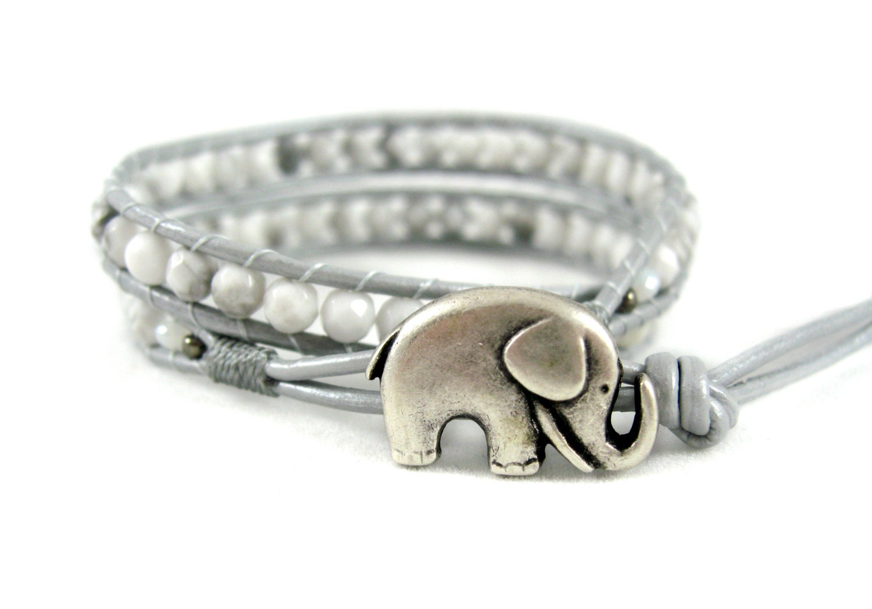 lucky elephant bracelet white howlite wrap by jadewalkstudios