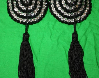 Black and White/Clear/Silver Crystal Rhinestone Striped Burlesque Pasties with Swivel, Rotating Tassels
