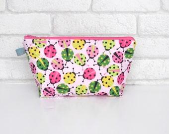 Pink Ladybird themed Cosmetic Wash Bag / Make Up Bag