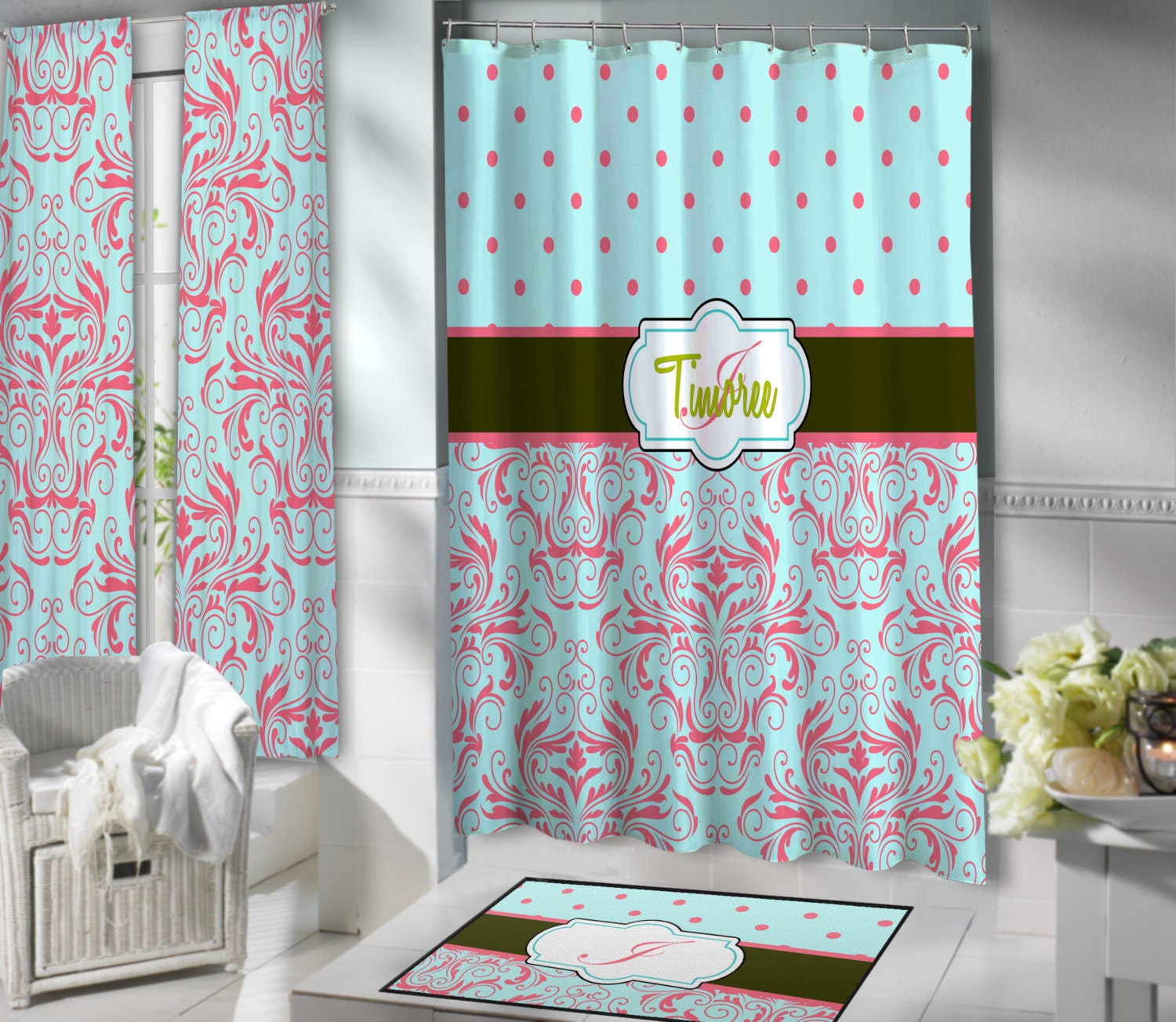 coral and turquoise shower curtain show home design