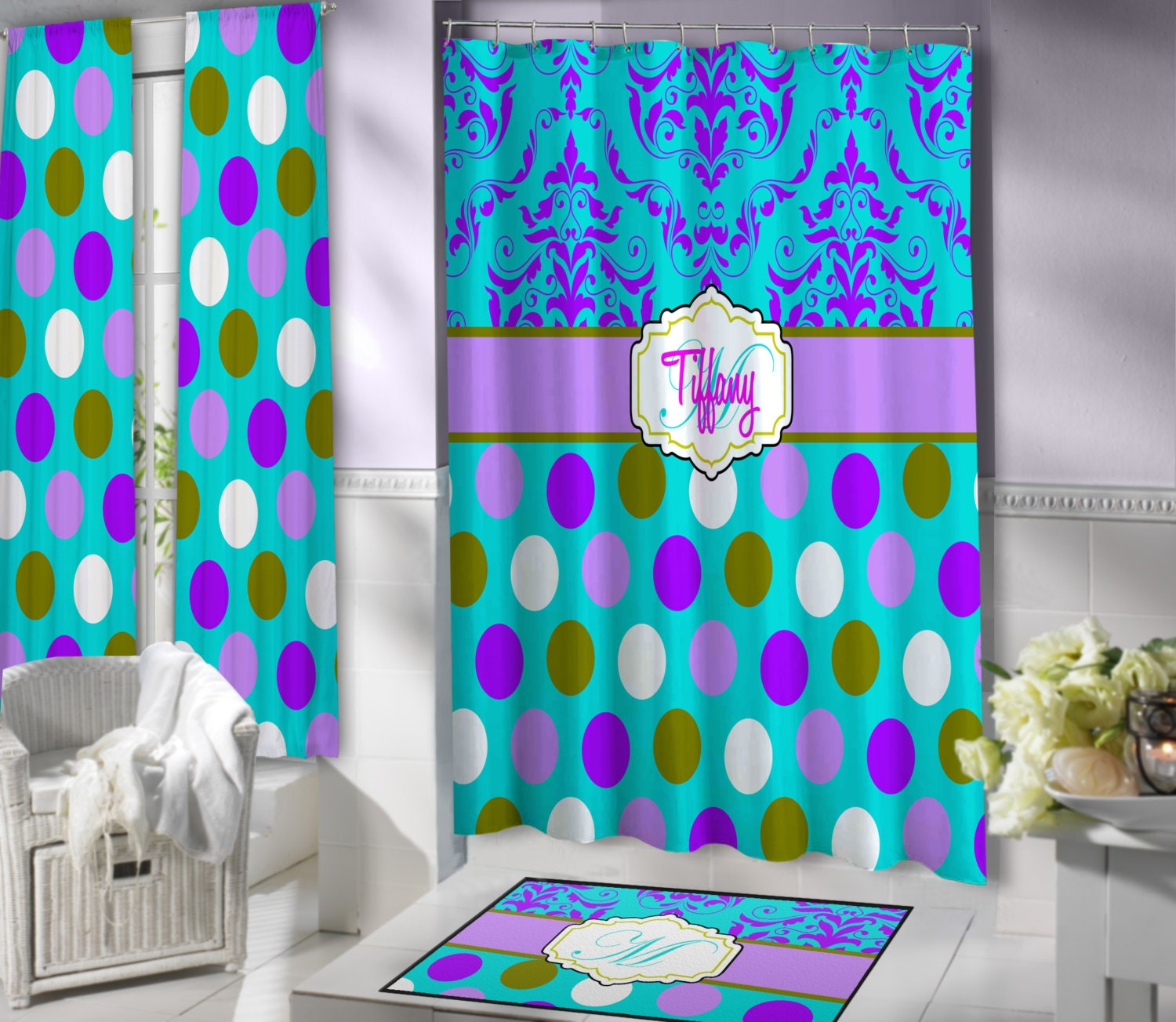 Turquoise Monogrammed Shower Curtain Purple Cool Fabric